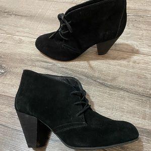 ALDO block heel ankle boots in black faux suede